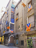 Streets of Barcelona with Catalan Flags 0370 Royalty Free Stock Photography