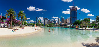 Streets Beach in South Bank Parkland, Brisbane. BRISBANE, AUS - NOV 18 2015: Streets Beach in South Bank Parkland. It's inner-city man-made beach next to city Stock Photos