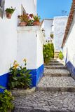 Streets of beautiful Obidos, Portugal stock photos