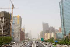 Streets of beijing in sandstor royalty free stock photo