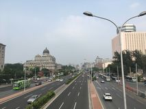 On the streets of Beijing, the view from the pedestrian bridge on the highway. stock image