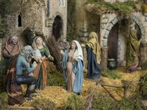 In the streets of belen. Decorative figures of traditional in Christmas of the portal of belen stock image
