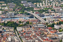 Streets of Bergen in Norway. Detail of some of Bergen's central streets from above Stock Photography