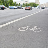 Streets of Berlin. Bicycle path on a street the center of Berlin Stock Photography
