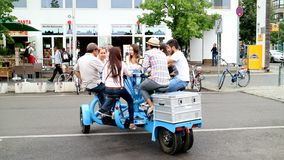 Seven people bicycles on the streets of Berlin, Germany royalty free stock image