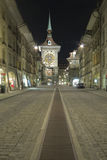 Streets of Berne with Zytglogge. At Night royalty free stock photography