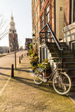 Streets and Bikes in Amsterdam Royalty Free Stock Photos