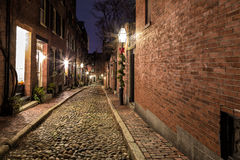 Streets of Boston. Acorn St, Boston, Massachusetts, a beautiful and historic place Royalty Free Stock Photography