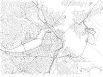 Streets of Boston, city map, Massachusetts, United States. Street map. Vector map of the city of Boston Stock Photo