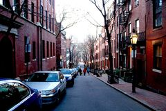 Streets of Boston. Down hill view of Pinckney Street in Boston, Massachusetts, United States of America Stock Photo