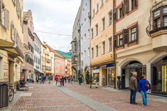 In the streets of Brunico in Italy Stock Photos