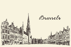 Streets in Brussels vector engraved drawn sketch Stock Photos