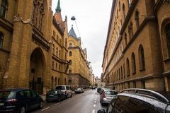 Streets of budapest in spring rainy day stock photo