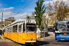 Streets of Budapest. A tram and a bus at a crossroad on the , Hungary stock photo
