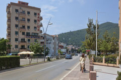 On the streets of Budva in the season a large enough movement. BUDVA, MONTENEGRO - JUNE 26, 2017: On the streets of Budva in the season a large enough movement stock image