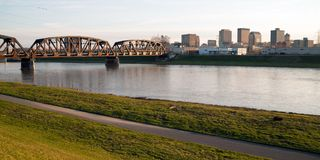 Lonely Sunday Morning Msd River Downtown City Skyline Dayton Ohio. The streets and buildings of Dayton Ohio only have a few travelers early Sunday morning Mad stock photos