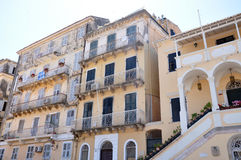 Streets and buildings in the town of Corfu, Greece, Europe Stock Images