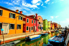 Streets of Burano, Italy stock photography