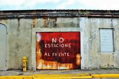 Streets of Cabo Rojo Puerto Rico. No parking out front Royalty Free Stock Image