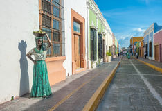 Streets of Campeche colonial town, Mexico Royalty Free Stock Photography