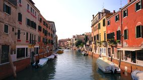 Streets and canal in italian city stock video