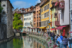 Streets, canal and Thiou river in Annecy, France. In the streets of Annecy. Annecy is the largest city of Haute Savoie department in the Auvergne Rhone Alpes stock photo