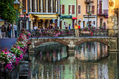 Streets, canal and Thiou river in Annecy, France. In the streets of Annecy. Annecy is the largest city of Haute Savoie department in the Auvergne Rhone Alpes royalty free stock photos