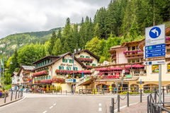 In the streets of Canazei mountain town - Dolomites of Italy Stock Photo