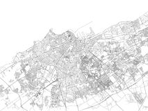 Streets of Casablanca, city map, Morocco. Satellite view. Street stock illustration