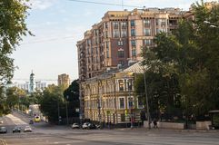 Peaceful summer evening in a Moscow street. Streets of the central part of the capital aren`t crowded in the evening of the weekend, and traffic is unhindered stock images