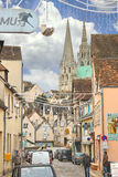 On the streets of Chartres in Christmas. Royalty Free Stock Images
