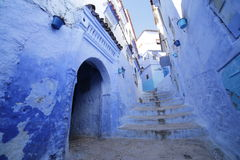 Streets of Chefchaouen Morocco. Chefchaouen  is a city in northwest Morocco. It is the chief town of the province of the same name, and is noted for its Stock Photography
