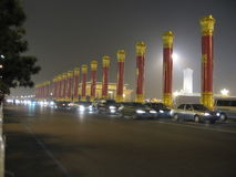 Streets of China,  Beijing at night.  Square Tian An-Men Stock Photos