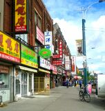 Streets of Chinatown in Toronto, Ontario, Canada.