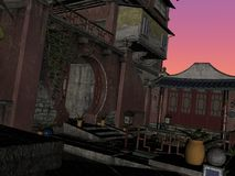 Streets of Chine. 3D rendered image of ancient street of China Royalty Free Stock Image
