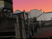 Streets of Chine. 3D rendered image of ancient street of China Royalty Free Stock Images