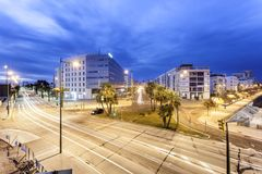 City of Huelva at night, Spain Stock Images