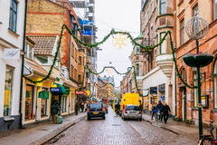 Streets of city Lund in the Christmas and holiday season in Sweden Royalty Free Stock Photos