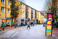 Streets of city Lund in the Christmas and holiday season in Sweden Stock Images