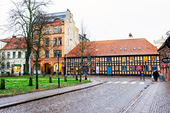 Streets of city Lund in the Christmas and holiday season in Sweden Stock Photo