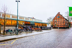 Streets of city Lund in the Christmas and holiday season in Sweden Royalty Free Stock Image