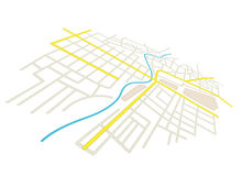 Streets on the vector city plan - in perspective Royalty Free Stock Photography