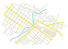 vector - streets on the city plan Stock Image