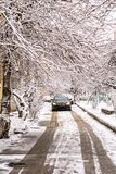 Streets of city in snow winter day Royalty Free Stock Photo