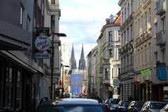 Streets of Cologne, Germany. Streets of Cologne (Köln in German) in Germany - with the famous Dome in the background royalty free stock photo