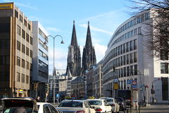 Streets of Cologne, Germany. Streets of Cologne (Köln in German) in Germany - with the famous Dome in the background stock images