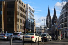 Streets of Cologne, Germany. Streets of Cologne (Köln in German) in Germany - with the famous Dome in the background stock image