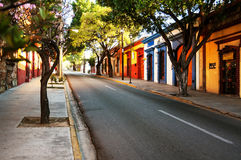 Streets of colonial town Puebla in Mexico Stock Photo