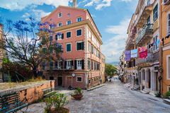 Streets of Corfu Town Royalty Free Stock Photo