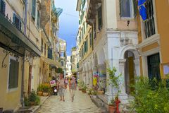 Streets of Corfu town panorama, Corfu Greece Royalty Free Stock Images